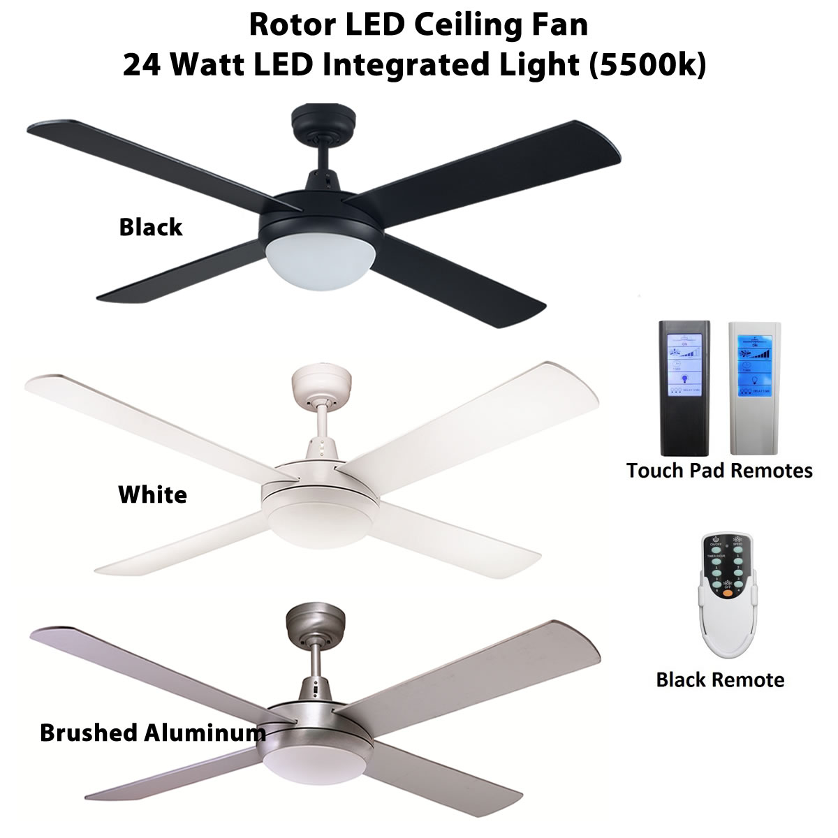 Rotor 52 inch led ceiling fan with 24w led light ceiling fan specials fias rotor led ceiling fan aloadofball Images