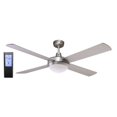 Genesis 52'' Brushed Aluminum Ceiling Fan 2xE27 Light + BL Touch Pad Remote - GEN52BL - TBLRem