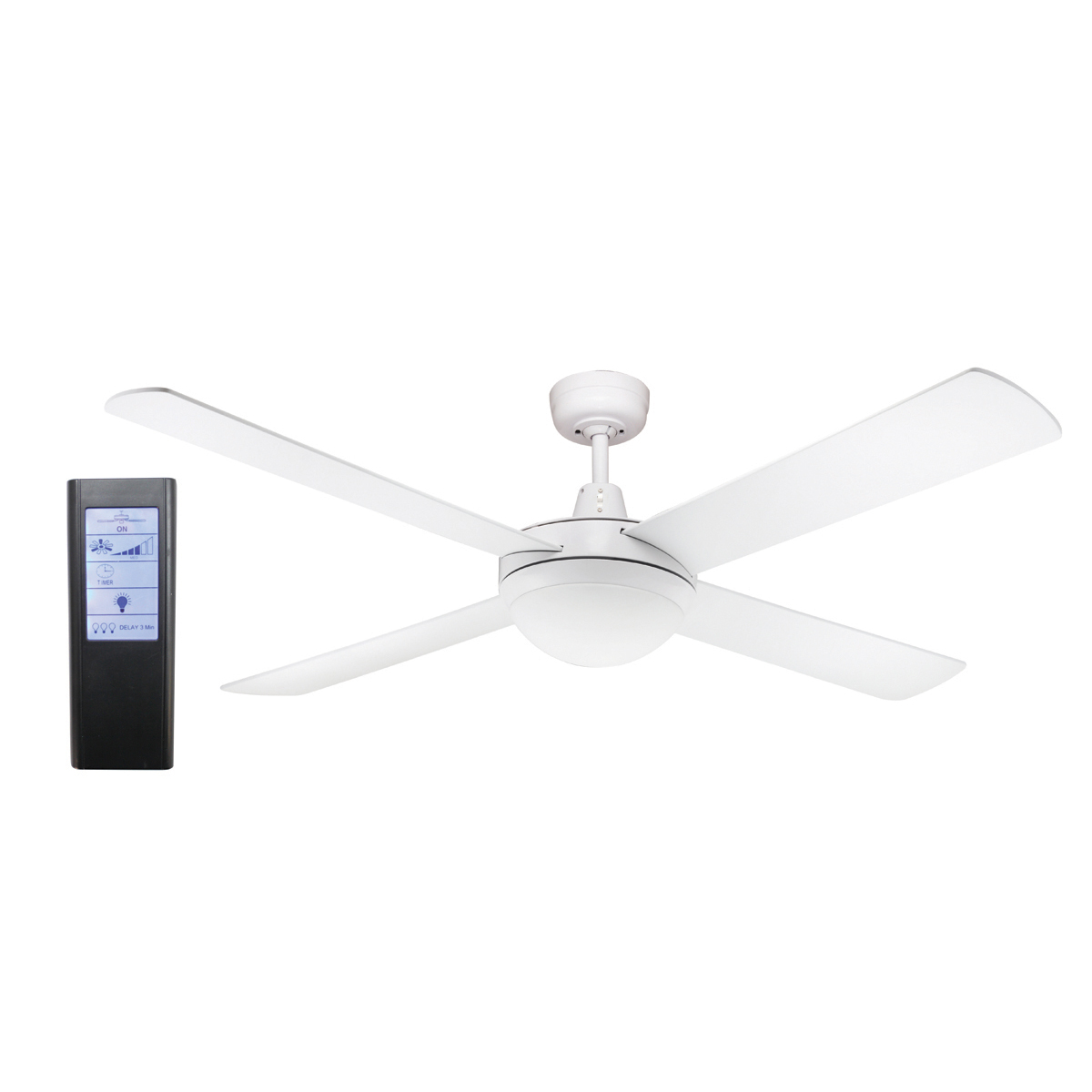 Genesis 52 Inch Ceiling Fan White With Light 2xe27 Black Touch