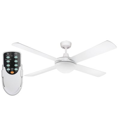 Genesis 52'' White Ceiling Fan 2xE27 Light + Remote - GEN52WL - Rem