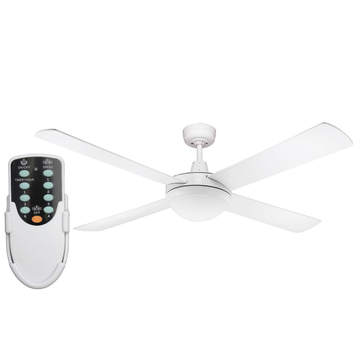 Genesis 52'' White Ceiling Fan 2xE27 Light + Remote - GEN52WL - Rem ...