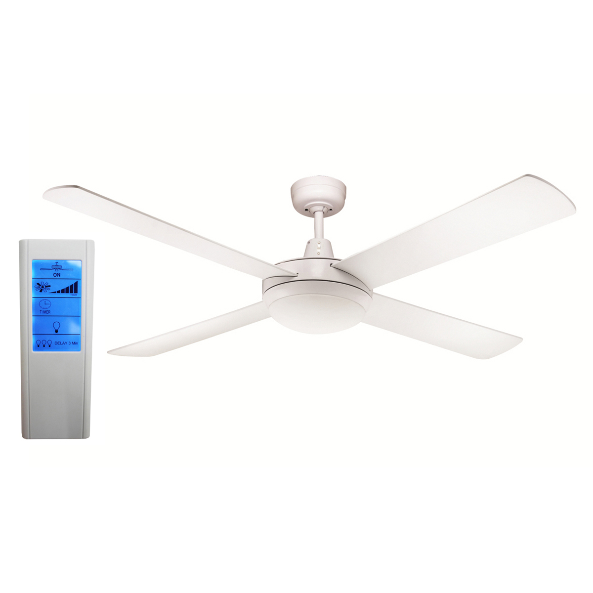 Rotor 52 Inch Led Ceiling Fan White With 24w Led Light White Touch
