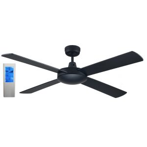 Genesis 52'' Black Ceiling Fan + WH Touch Pad Remote - GEN52BLK - TWHRem