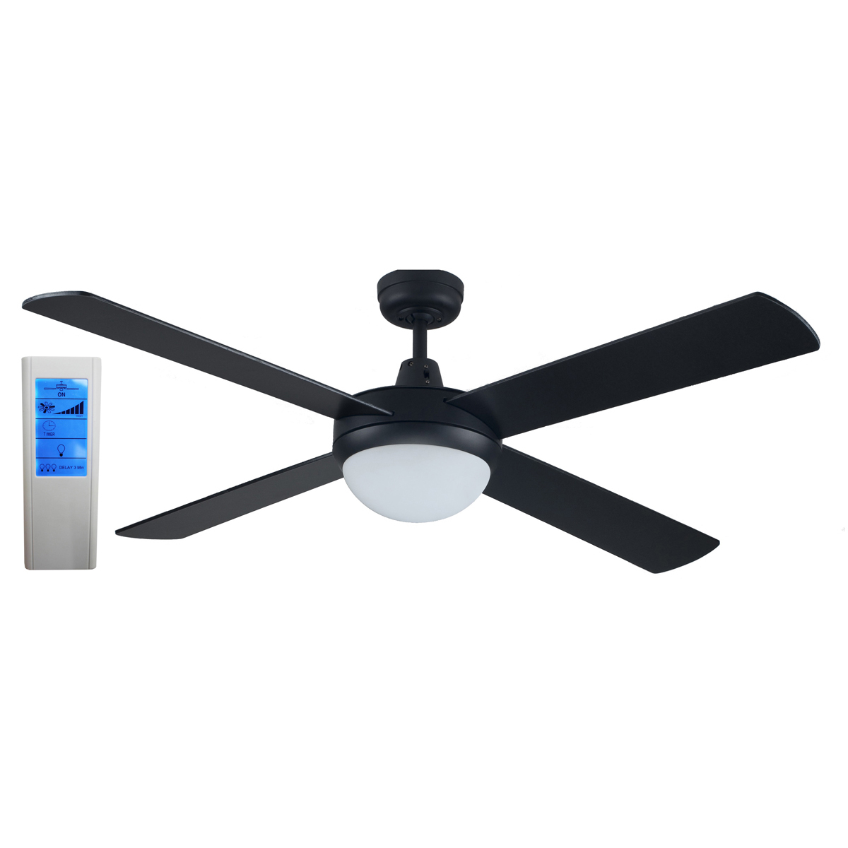 Rotor 52 Inch LED Ceiling Fan Black With 24W LED Light
