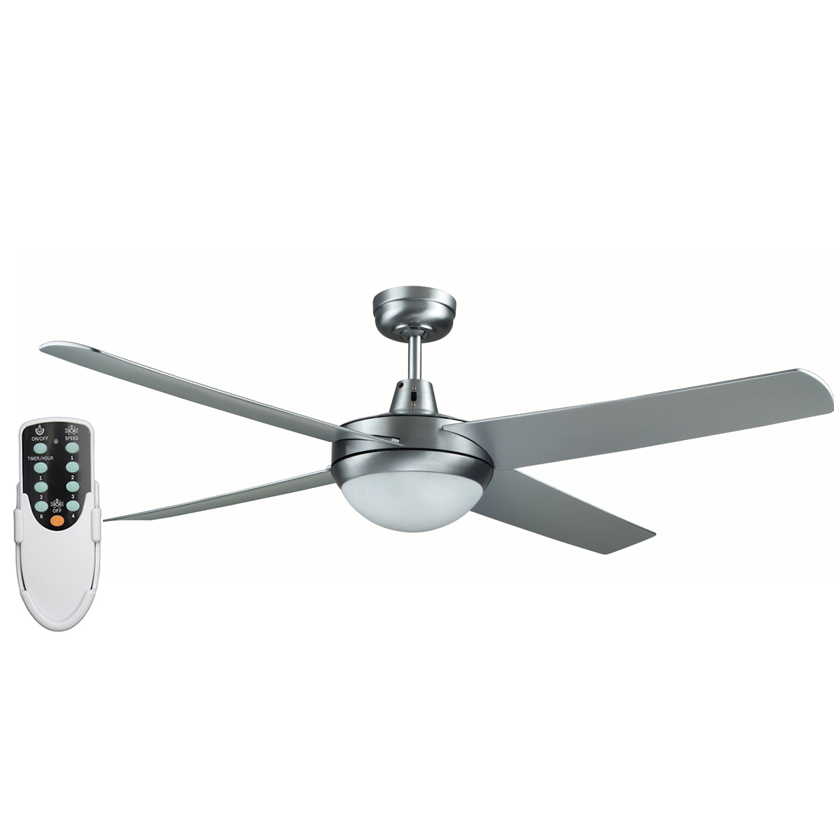 Rotor 52 Inch Led Ceiling Fan With Abs Blades In Brushed Aluminum Remote Ceiling Fan Specials