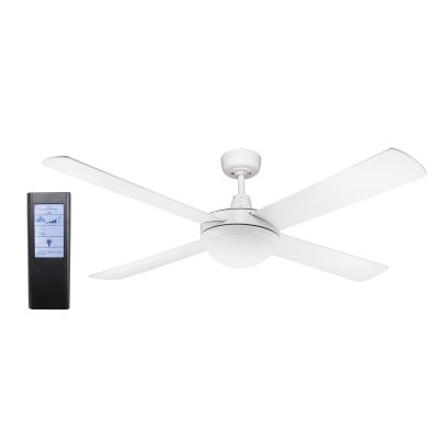 Genesis 52'' White Ceiling Fan 2xE27 Light + BL Touch Pad Remote - GEN52WL - TBLRem