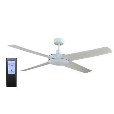 Genesis 52'' White Ceiling Fan with ABS Blades + BL Touch Pad Remote - GEN52W2 - TBLRem