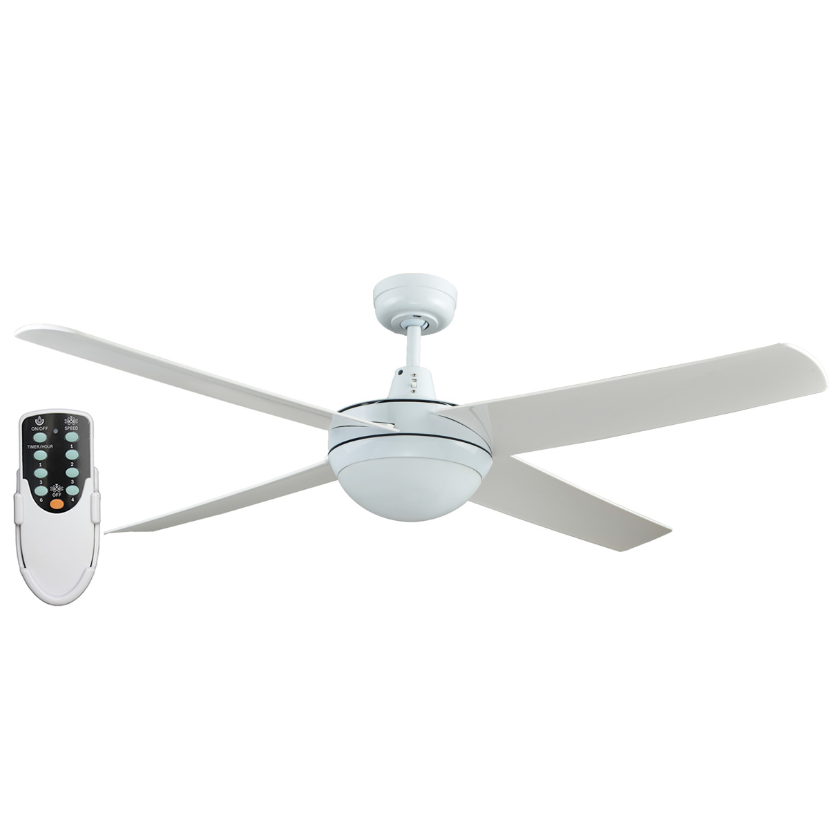 Rotor 52 Inch Led Ceiling Fan With Abs Blades In White