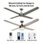 Blizzard 4 Blade 316 Marine Grade Stainless Steel Ceiling Fan